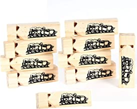 Kicko Wooden Small Train Whistles - Pack of 10-3.5 Inches - Picture of Locomotive - for Kids Boys and Girls Party Favors, Bag Stuffers, Fun, Toy, Prize, Pinata Fillers