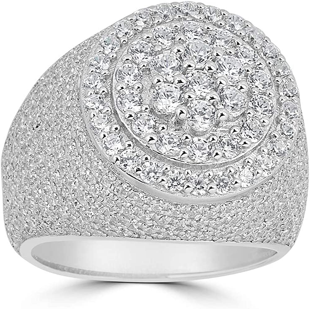 Harlembling Solid 925 Sterling Silver - Iced Men's Factory outlet Ring ICY Columbus Mall