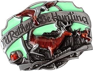 Baosity Men's Retro Jungle Reindeer Deer 3D Relief Hunt Metal Belt Buckle Multicolor