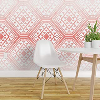 Spoonflower Pre-Pasted Removable Wallpaper, Moroccan Tile Geometric Salmon Pink Ombre Tribal Watercolor Gradient Print, Water-Activated Wallpaper, 24in x 108in Roll