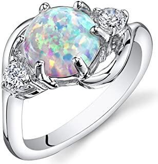 Created White Opal Ring in Sterling Silver, Round Shape,...