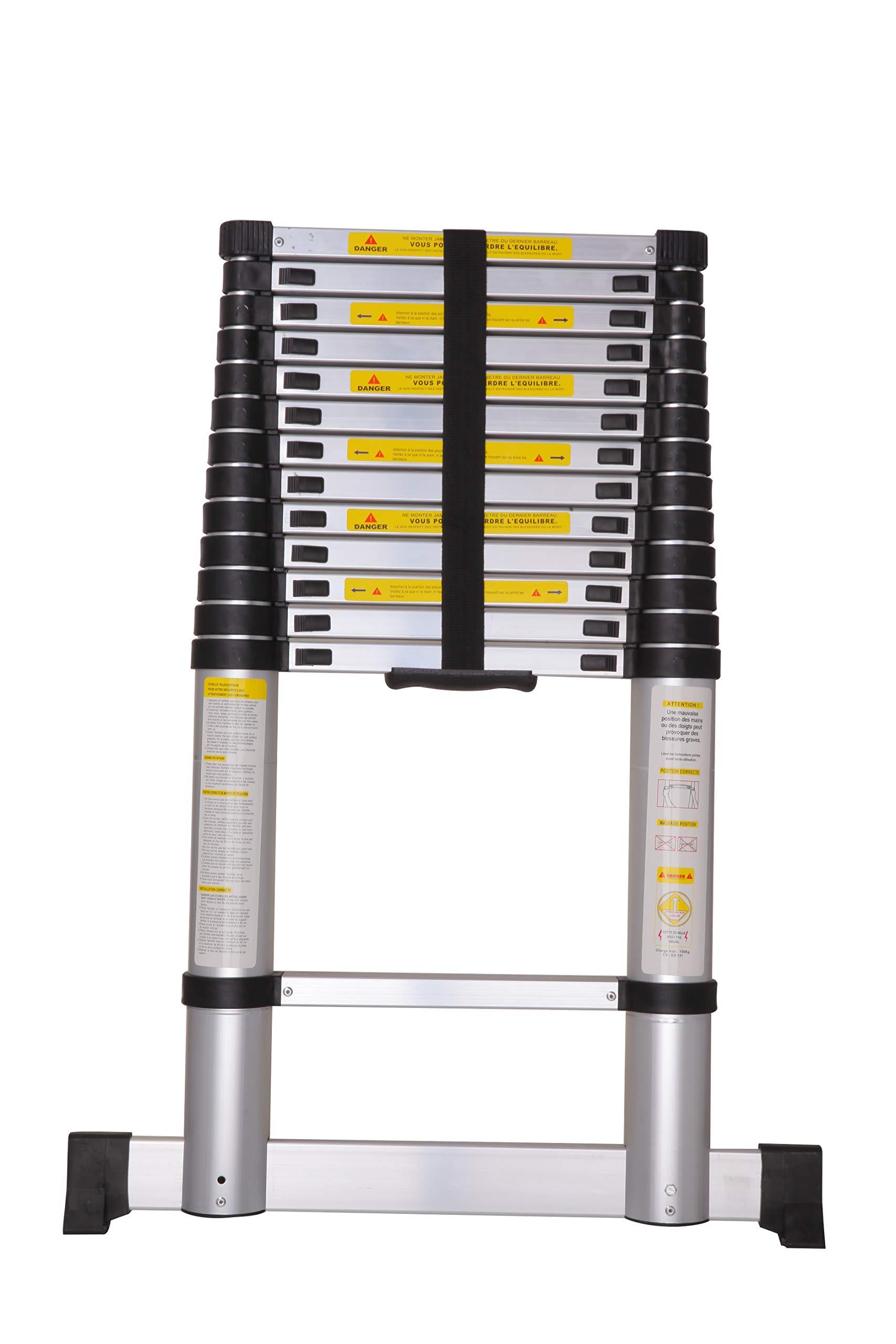 Varan Motors DLT213B-2019 - Escalera telescópica (aluminio, 4,1 m, 14 peldaños, fácil de transportar): Amazon.es: Bricolaje y herramientas
