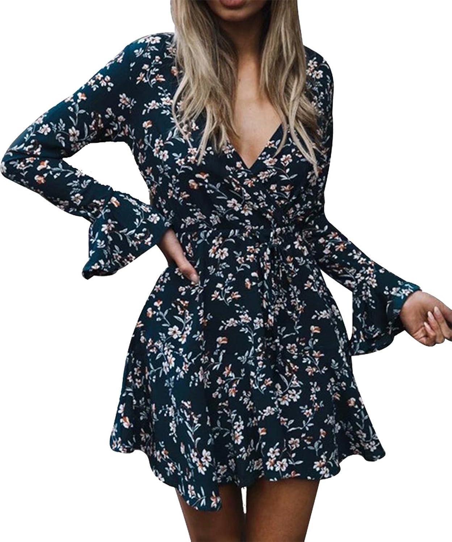 MAXIMGR Women's V Neck Long Sleeve Dress Floral Print Flare Sleeve Tie Waist Mini Dress