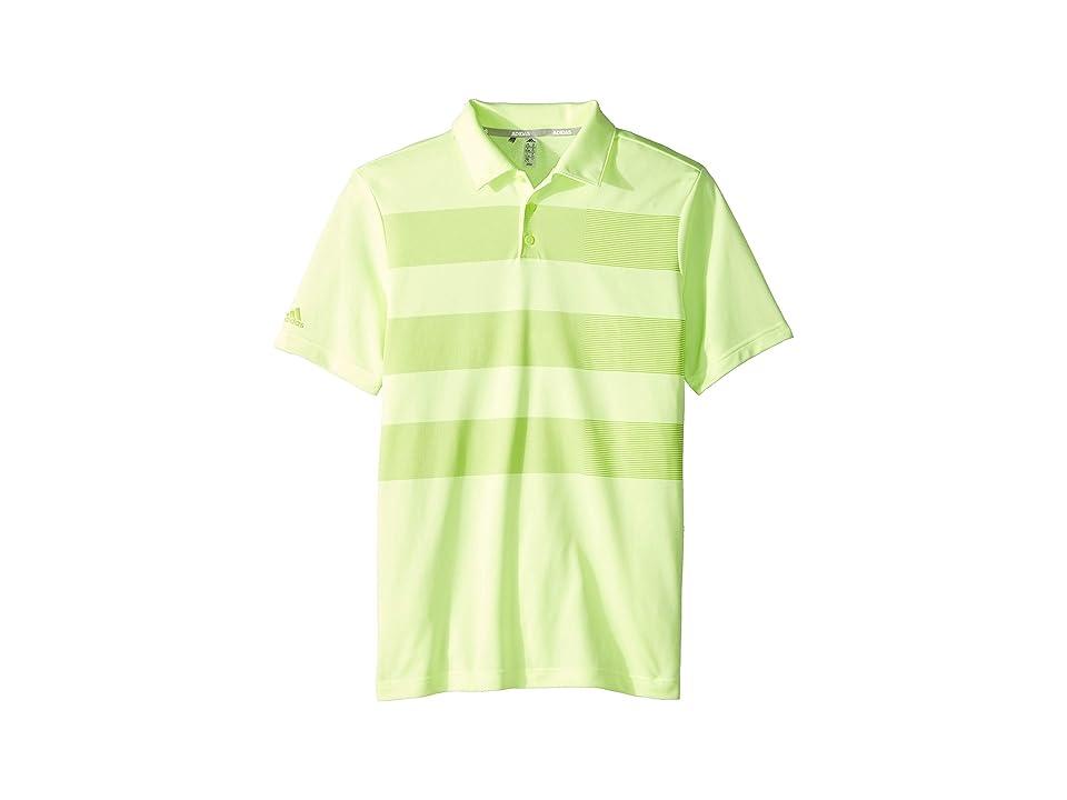 Image of adidas Golf Kids Three Stripe Polo (Little Kids/Big Kids) (Hi-Res Yellow) Boy's Short Sleeve Knit