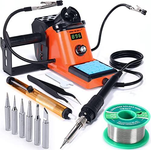 wholesale YIHUA outlet sale online 926 III Digital Soldering Iron Station Kit, 60W w Auto Sleep, 2 Helping Hands, 6 Extra Iron Tips, 50g Lead-Free Solder, Solder Sucker, S/S Tweezers, °C/ºF Display & Calibration Support outlet online sale
