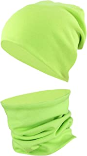 TupTam Unisex Children's Beanie Hat Tube Scarf Set Plain