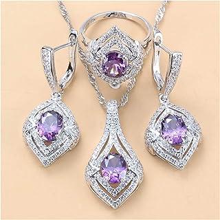فساتين الزفاف، مجوهرات كريستالية، مجموعة مجوهرات هدايا للنساء هدايا الذكرى السنوية لها (اللون: 3 قطع، الحجم: 9)
