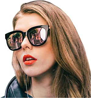 Oversized Mirrored Sunglasses for Women/Men, Polarized Sun Glasses with 100% UV400 Protection