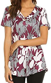Domple Womens Print V-Neck Short Sleeve Relaxed-Fit Casual T-Shirt Tee