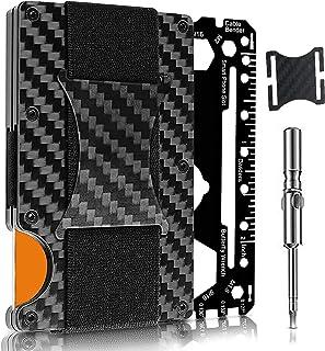 Minimalist Card Holder, Carbon Fiber Wallet Cash Strap - RFID Blocking - Complete Gift Set for Men Including Bottle Opener...