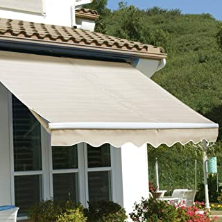 Stark Item Outdoor 8'x 6' Manual Retractable Patio Deck Awning Sun Shade shelter Canopy tan
