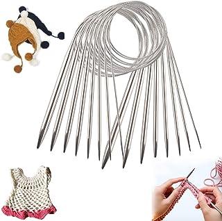Aiguille à Tricoter Circulaire|Ensemble de Points de Chandail|Crochet rond en Acier Inoxydable|6 Tailles Différentes de Pi...