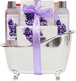 Gift Basket for Women, Body & Earth Lavender Scented Spa Gift Set with Body Wash, Bubble Bath, Bath Salts and Soap Bar, Best Gift Ideas for Any Holidays Like Christmas, Valentine, Mothers'Day
