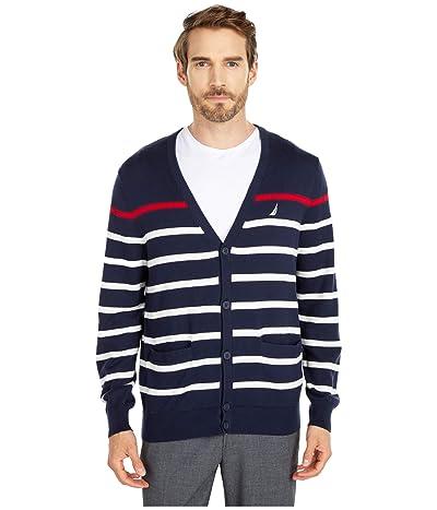 Nautica Striped Cardigan Sweater (Blue 1) Men