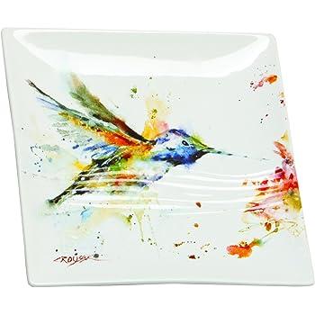 Nature Watercolor 6 x 6 Ceramic Stoneware Decorative Appetizer Plates Set of 4 Demdaco 3005051490