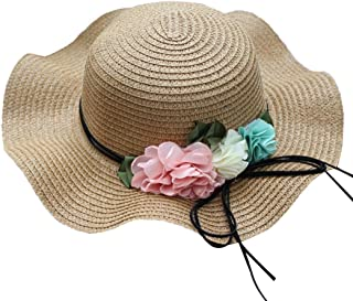 Clearance Sale! Straw Sun Hat for Little Gilrs, Iuhan Toddler Kids Girl Multi-colors Large Brim Flower Beach Sun Hats (Khaki)