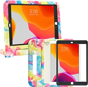 HDE iPad 9th Generation Case for Kids with Built-in Screen Protector Shockproof iPad Cover 10.2 inch with Handle Stand fits 2021 9th Gen, 2020 8th Gen, 2019 7th Gen Apple iPad 10.2 - Tie Dye
