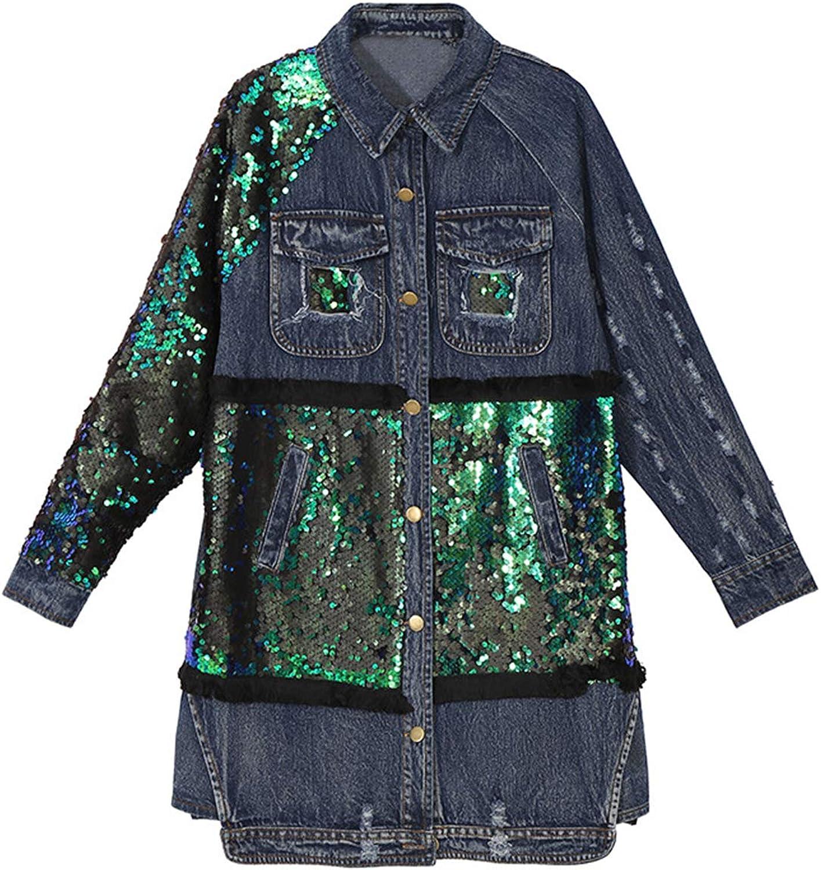 WENFUMEI Women Sequin Patchwork Denim Coat Button Long Sleeve Plus Size Jeans Jacket