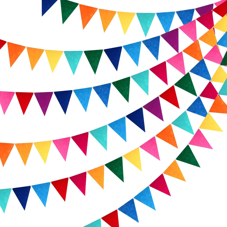 6 Sets Rainbow Pennant Banner Multicolor Felt Fabric Pennant Banners Rainbow Bunting for Birthday Party Festival Decorations