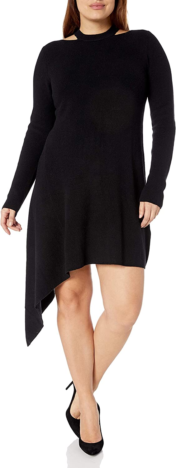 City Chic Women's Apparel Women's Plus Size Knit Dress with Asymetric Hem and Cut Out Detail