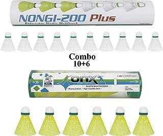 NONGI Plus Combo Plastic Badminton Shuttlecock Pack of 16