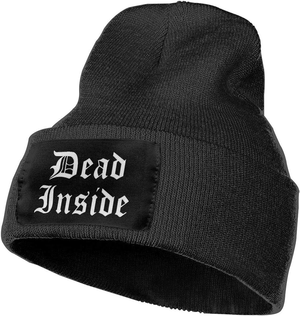 Morbid Embroidery Cuffed Beanie Hat Mental Health Dead Inside