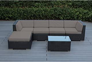 Ohana 6-Piece Outdoor Patio Furniture Sectional Conversation Set, Black Wicker with Sunbrella Taupe Cushions - No Assembly with Free Patio Cover