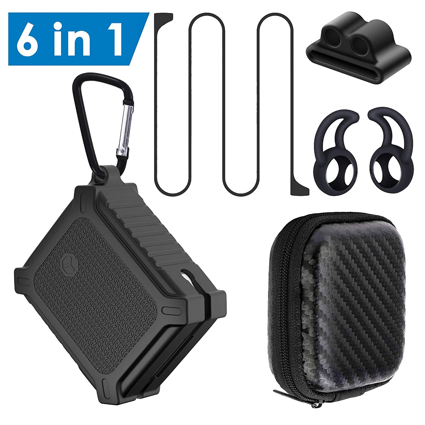 TEEMADE Airpods Accessories Kits 6 in 1,Protective Cover Case and Skin for Airpods Charging Case with Ear Hook/Steel Carabiner/Anti-Lost Strap/Watch Band Holder/Zipper Case(Black)