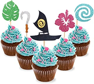NiceLife 30pcs Moana Inspired Cupcake Toppers Birthday Party Decoration Boat Sail Swirls Hooks Hawaiian Flower Leaves for Tropical Luau Summer Party Baby Shower