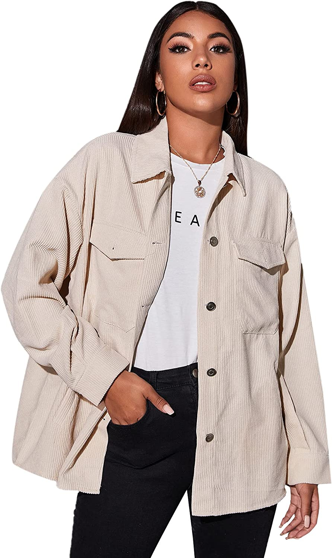 MakeMeChic Women's Corduroy Button Down Long Sleeve Oversized Jacket Coat