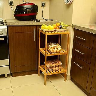 YATAI 3-Tier Bamboo Kitchen Storage Organizer - Bathroom Shelf Adjustable Floor Height Book Shelf Flowers Plants Stand – W...