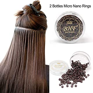 200Pcs Beads Silicone Aluminium Micro Nano Rings 3mm Lined For I Tip/Nano Hair Extensions Tool Beads (2 Bottles, Brown Color)