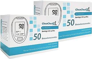GlucoCheck XL - 100 tiras de control de la glucosa en sangre - Aplicable con el glucómetro GlucoCheck XL