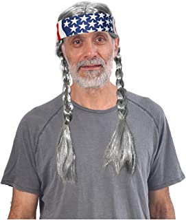 Grey Hippie Wig with Braids and American Flag Bandana - One Size
