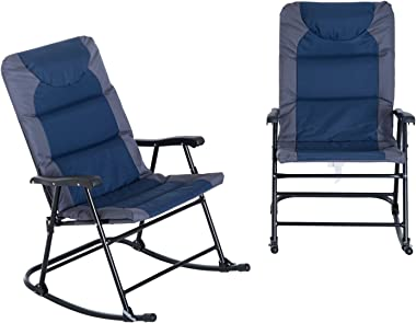 Outsunny Folding Padded Outdoor Camping Rocking Chair 2 Piece Set - Blue/Grey