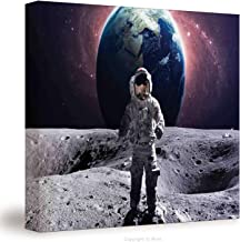 №20194 Canvas Art Wall Decor/ Space, Astronaut At The Spacewalk On The Moon Surface With Earth Cosmos Art Image,Grey Magenta / Wall Art Paintings On Canvas Stretched And Framed Ready To Hang For Home
