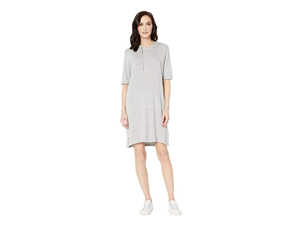 Tribal French Terry Elbow Sleeve Dress with Hood (Light Grey) Women