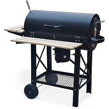 Alice's Garden Barbecue américain Charbon de Bois - Serge Noir - Smoker américain avec aérateurs, récupérateur de Cendres, fumoir