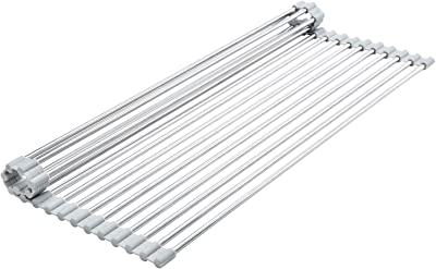 """Roll Up Dish Drying Rack,Kitchen Multipurpose Over The Sink,Stainless Steel Sink Drying Rack Portable Collapsible Drainer Mat(Grey 17""""x12.2"""")"""