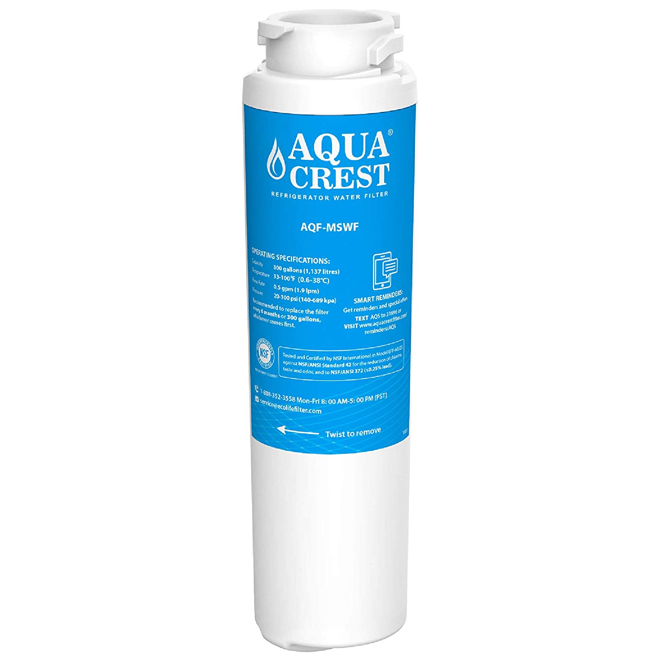 AQUACREST Refrigerator Water Filter, Compatible with GE MSWF SmartWater 101821B 101820A