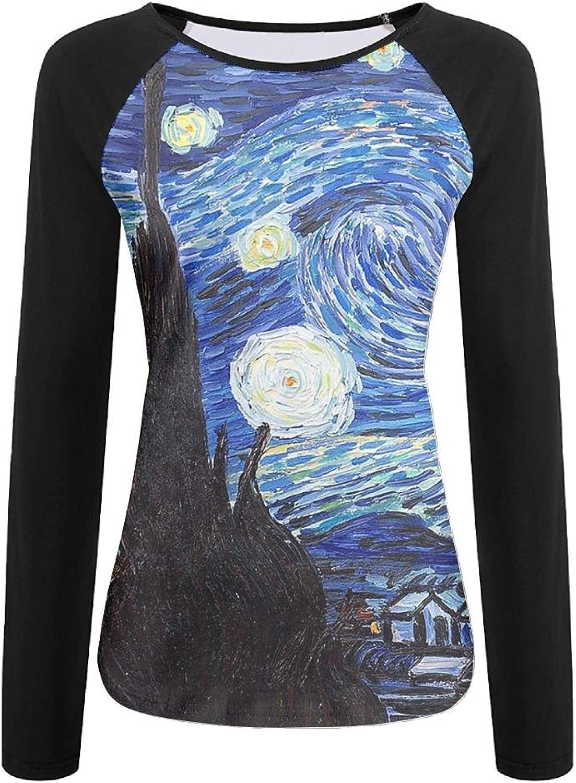 Gogh Starry Night Women's Long Sleeves Baseball Tshirt Raglan 3D Digital Casual Top