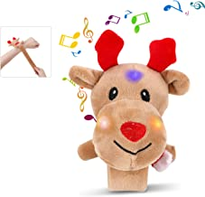 Christmas Decoration and Gift, Slap Bracelet with Lighted Santa Elk Xmas Tree Decorative Bands for Girls Boys Kids Teenagers, Great Holiday Gifts for Navidad Birthday and Family Parties (Musical Elk)