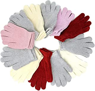 Unisex Winter Knit Magic Gloves Novelty Colors One-Size Fits Most Adults Teenagers 12 Pairs 1 Dozen