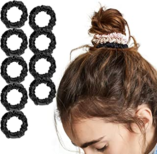 LilySilk 9 Pack 100 Real Mulberry Silk Scrunchies Black for Women Mini- Colorful Hair Bow Ties- Girls- Unique Bobble Elast...