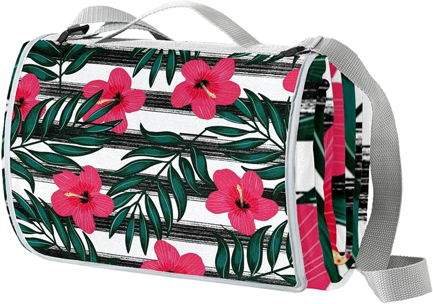 Tropical Leaves Red Direct sale of manufacturer Flowers Black Max 81% OFF Large Picnic B Stripes Outdoor