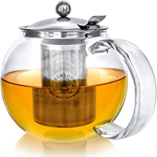 NEW DESIGN – Teabloom Stovetop Safe + Lead-Free Glass Teapot – 40 oz / 1200 ml Capacity – Removable Stainless Steel Infuser – Great For Loose Leaf Tea, Blooming Tea, Tea Bags & Fruit Infused Water