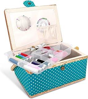 Navaris Boîte à Couture Complète - Boîte à Coudre 24,5 x 17,5 x 12,5 cm - Kit de Couture 76x Accessoire avec Poignée Motif...