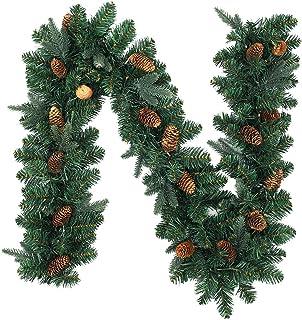 1.8M/6FT Christmas Garland Pre-Lit Wreath Door Decor with Lights,Fireplaces Artificial Wreath Garland for Indoor Outdoor C...