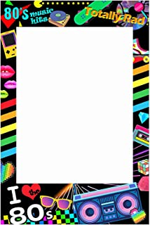 (36x24inch Pre-cut Frame ( 80's Music Hits )) - musykrafties I love 80s Photo Booth Frame Photobooth Props Pre-cut 90cm x 60cm