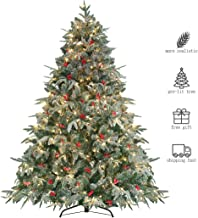 HOMAKER Pre-Lit 7.5ft Artificial Christmas Tree, Feel Real Snow Flocked PE Tree 700 Clear Lights UL Certificated, Red Berries